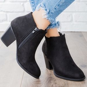 Vegan suede booties black ankle boots pointed